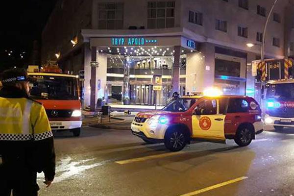 Incendi a l'Hotel Hryp Apolo de Barcelona